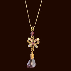 Michal Negrin Gift Bow Purple Necklace