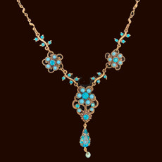 Michal Negrin Spray Rose Blue Necklace