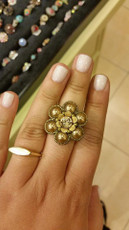 Michal Negrin Swarovski Crystals Daisy Flower Adjustable Ring