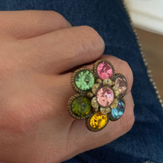 Michal Negrin Crystals Daisy Flower Adjustable Ring
