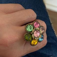 Michal Negrin Crystals Daisy Flower Adjustable Ring