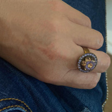 Michal Negrin Swarovski Crystals Purple Flower Adjustable Ring