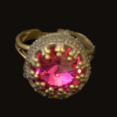 Michal Negrin Hot Pink Crown Swarovski Crystal adjustable Ring