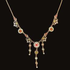 Michal Negrin Elegant Sparkle Zinnia Flower Classic Necklace