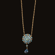 Michal Negrin Crystal Ball Beads Aqua Necklace