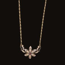 Michal Negrin Pretty In Jewels Antique White Flower Necklace