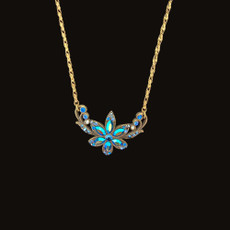 Michal Negrin Pretty In Jewels Ocean Blue Flower Necklace