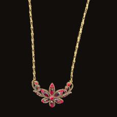 Michal Negrin Swarovski Crystals Crimison Flower Necklace