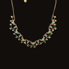 Michal Negrin Added Sparkle Crystal Flowers Necklace