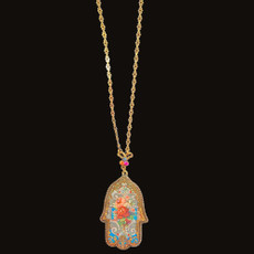 Michal Negrin Printed Roses Hamsa Necklace