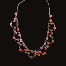 Michal Negrin Classic Celebration Small Crystals Flowers Necklace