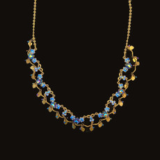 Michal Negrin Added Sparkle Crystal Blue Sky Flowers Necklace