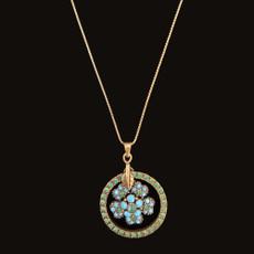 Michal Negrin Flower Dream Catcher Green Necklace