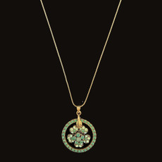 Michal Negrin Flower Dream Catcher Dark Green Necklace