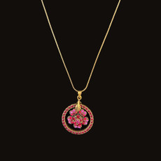 Michal Negrin Flower Dream Catcher Red Hot Pink Necklace