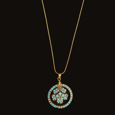 Michal Negrin Flower Dream Catcher Turquoise Necklace