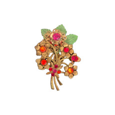 Michal Negrin Swarovski Crystals Flowers Bouquet Pin