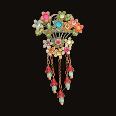Michal Negrin Swarovski Crystals Flowers Bouquet Multibright Pin
