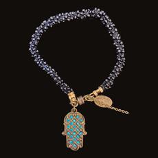 Michal Negrin Blue Swarovski Crystals Hamsa Bracelets