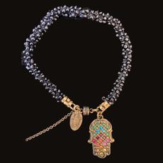 Michal Negrin Multicolor Swarovski Crystals Hamsa Bracelets