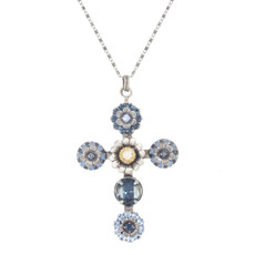 Michal Golan Blue Frost Cross Necklace