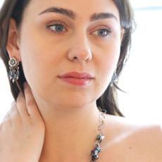 Michal Golan Blue Frost Dangle Stud Earrings