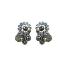 Michal Golan Blue Frost Floral Swirl Earrings
