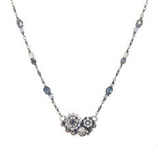 Michal Golan Blue Frost Flower Pendant Necklace