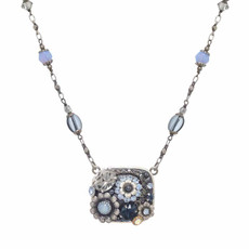 Michal Golan Blue Frost Be there or be Square Necklace
