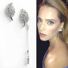 Michal Negrin Uneven Sparkling Leaf Sterling Silver Earrings