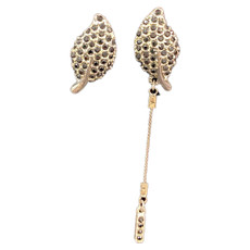 Michal Negrin Uneven Sparkling Leaf Sterling Silver Post Earrings