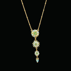 Michal Negrin Victorian Flower Bright Swarovski Crystals Necklace