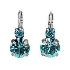 Mariana Lovable Double Stone Leverback Earrings in Aquamarine