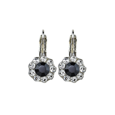 Mariana Must Have Flower Leverback Earrings in Checkmate Rhodium