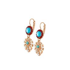 Mariana Monstera Leaf Dangle Leverback Earrings in Happiness