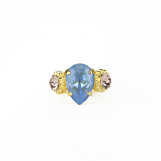 Mariana Pear and Round Three Stone Ring in Blue Morpho