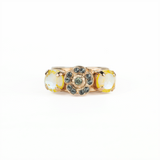 Mariana Petite Three Stone Round and Flower Adjustable Ring in Painted Lady