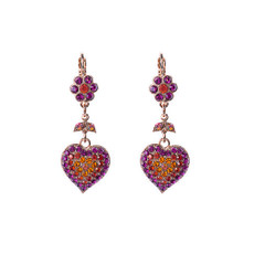 Mariana Flower and Heart Dangle Leverback Earrings in Hibiscus