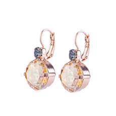 Mariana Extra Luxurious Double Stone Leverback Earrings in Earl Grey