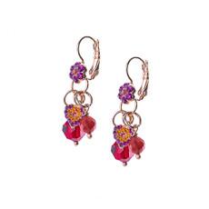 Mariana Petite Flower Dangle Leverback Earrings in Hibiscus