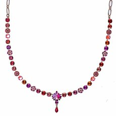 Mariana Petite Necklace with Rivoli Center Cluster in Hibiscus