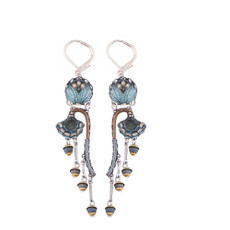 Ayala Bar Blue Velvet Growing Flowers French Wire Earrings
