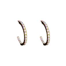 Michal Negrin Lovely Hoop White Swarovski Crystals Earrings