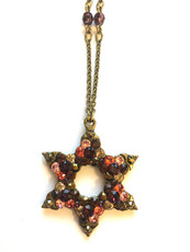 Michal Negrin Star Of David Multi Reds Necklace