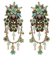 Michal Negrin Jewelry Clip On Flowers Earrings - Multi Color