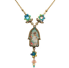 Small Hamsa Hand Necklace By Michal Negrin - Multi Color