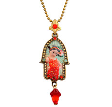 Hamsa Symbol Necklace By Michal Negrin - Multi Color