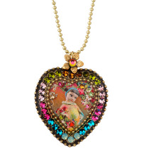Michal Negrin Crystal Heart Necklace - Multi Color