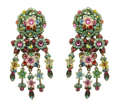 Michal Negrin Jewelry Big Flower Dangle Clip On Earrings - One Left