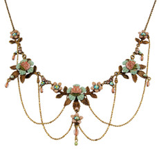 Michal Negrin Jewelry Crystal Flower Necklace With Dangaling Chain - Multi Color